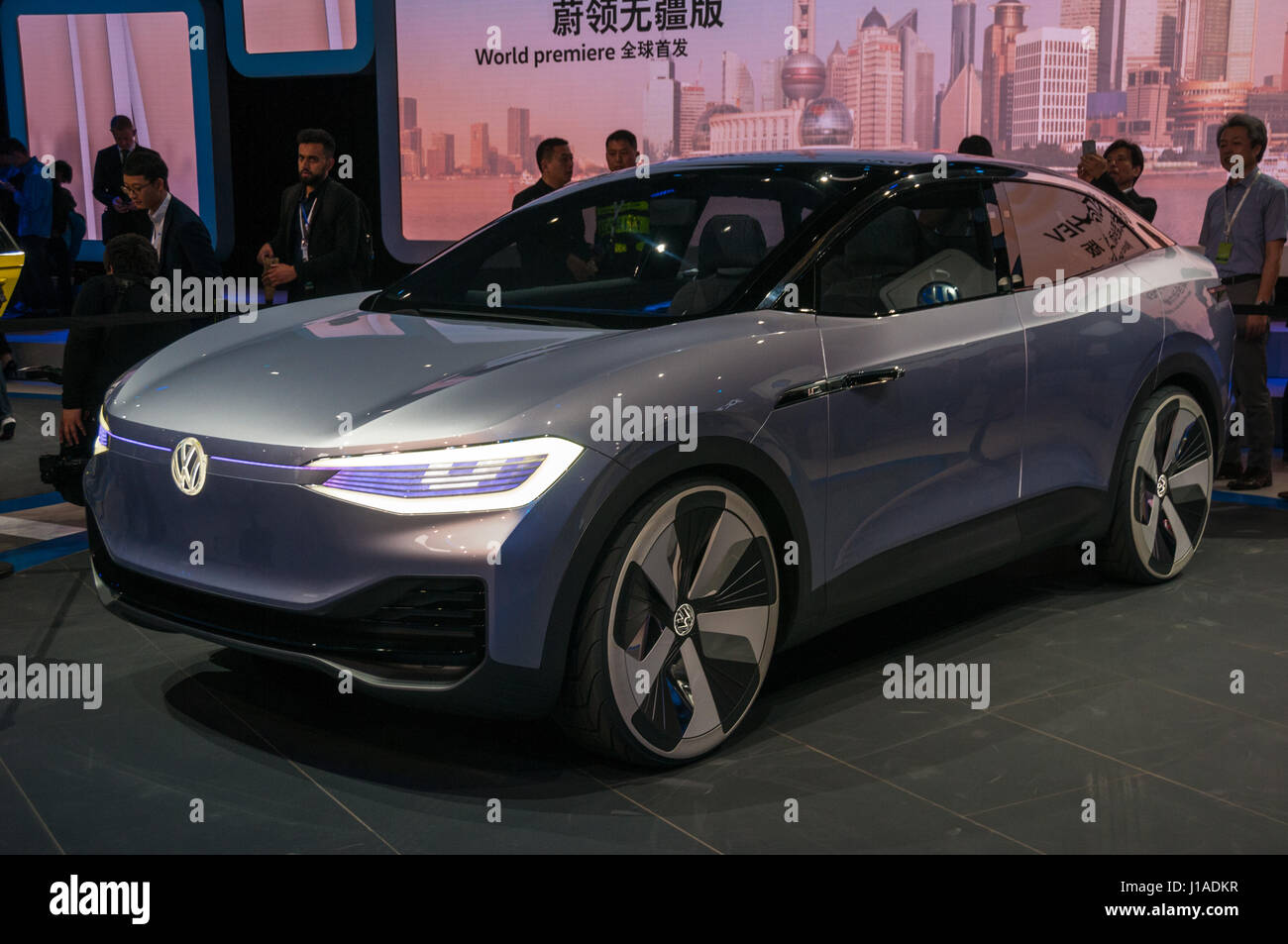 Shanghai, China. 19th April, 2017. Volkswagen ID SUV electric vehicle concept on the 2017 Shanghai Auto Show Credit: - Stock Image