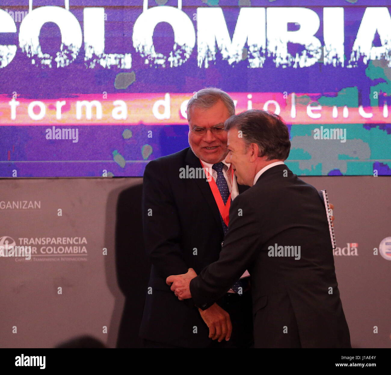 President of Transparency International, Nadine Heredia (L) and Colombian president Juan Manuel Santos (R) during - Stock Image