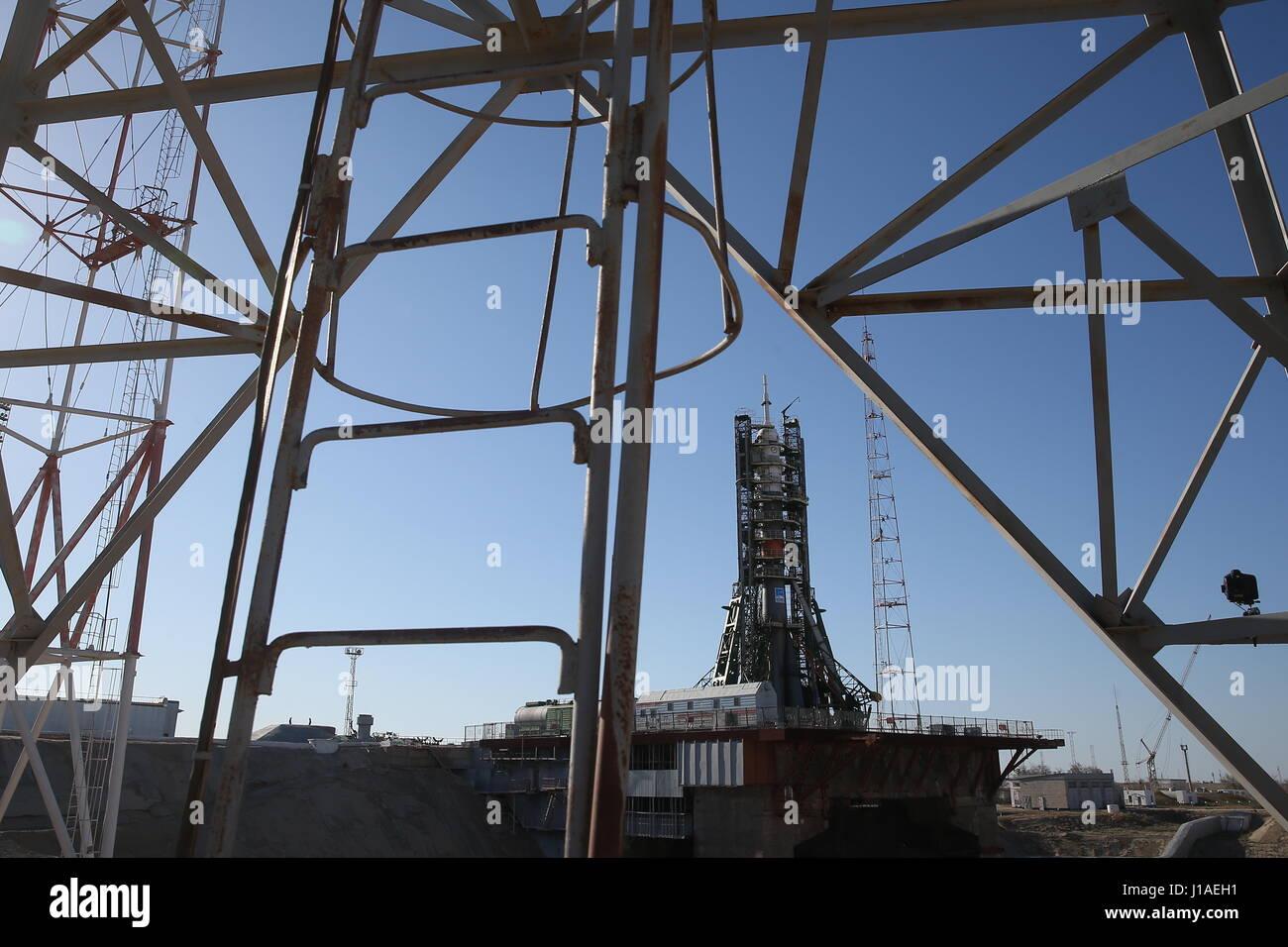 KYZYLORDA REGION, KAZAKHSTAN - APRIL 19, 2017: A view of a Soyuz-FG rocket carrying the Soyuz MS-04 spacecraft, - Stock Image