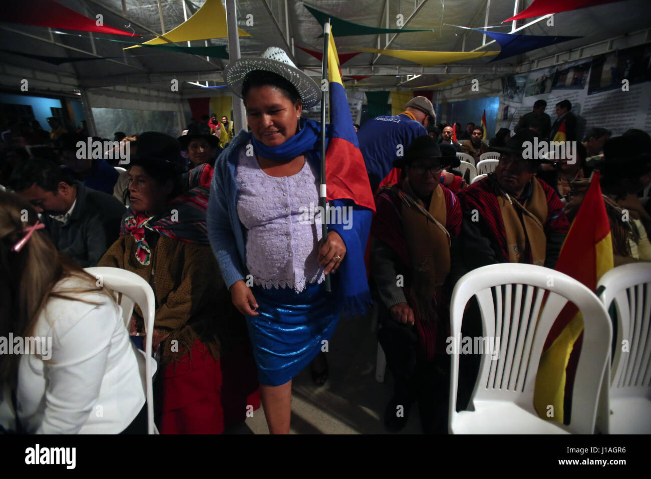 Bolivian officialist leader Leonilda Zurita and other sympathizers of Bolivian President Evo Morales attend a solidarity - Stock Image