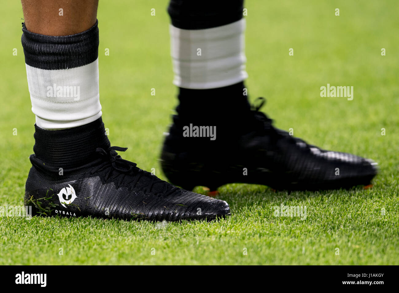 25327fb9baa Paulo Dybala (Juventus) Football Soccer   The detail shot of the boots of Paulo  Dybala of Juventus before the UEFA Champions League Quarter-finals 1st leg  ...