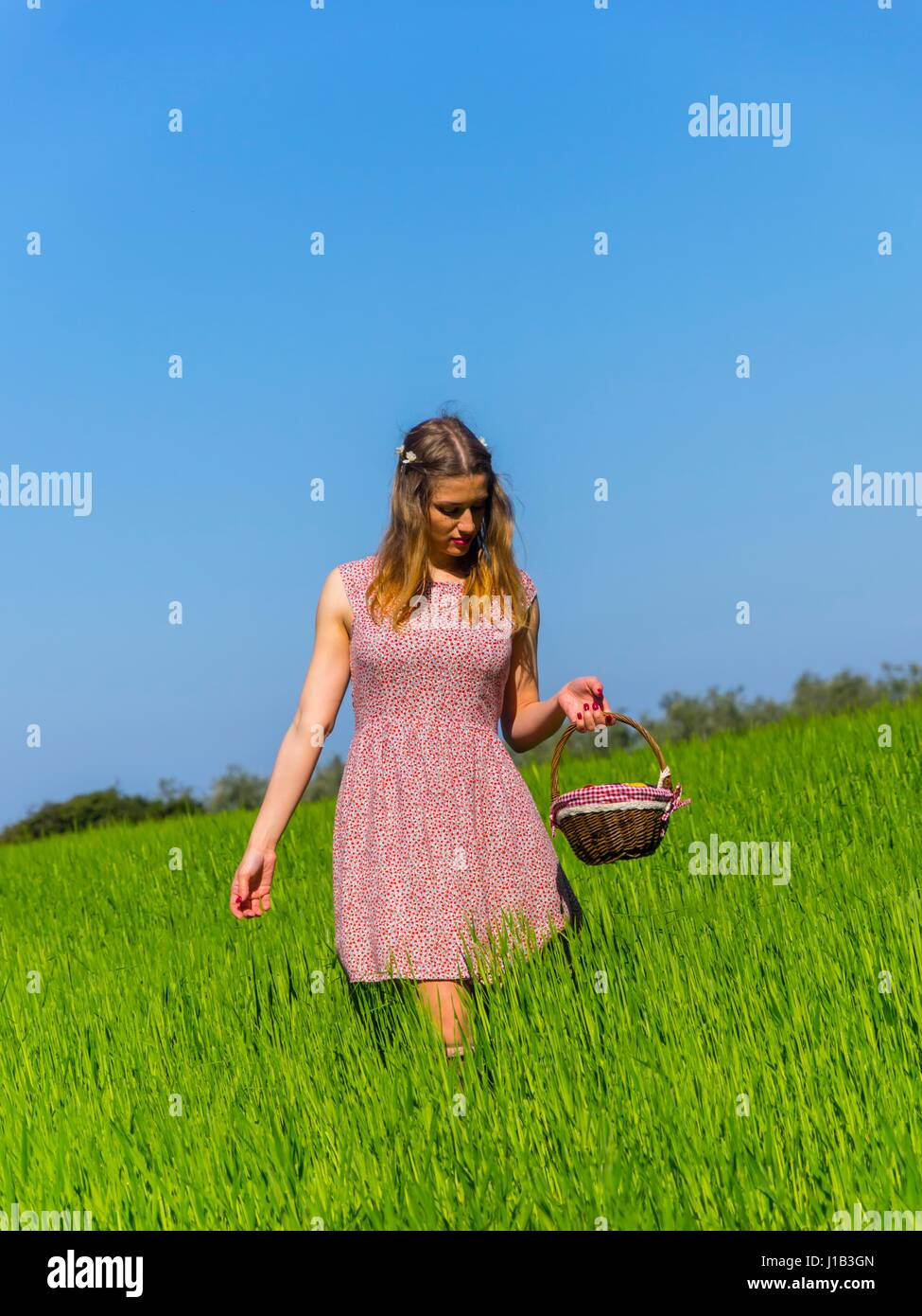 Country-girl carrying carry basket walking towards camera front frontal view slow walk looking down vertical format - Stock Image