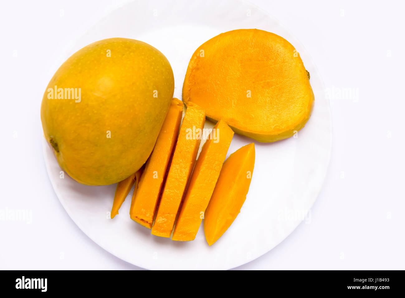 mumbai india 12 april 2017 mango fruit cubes slices on the plate and J1B493
