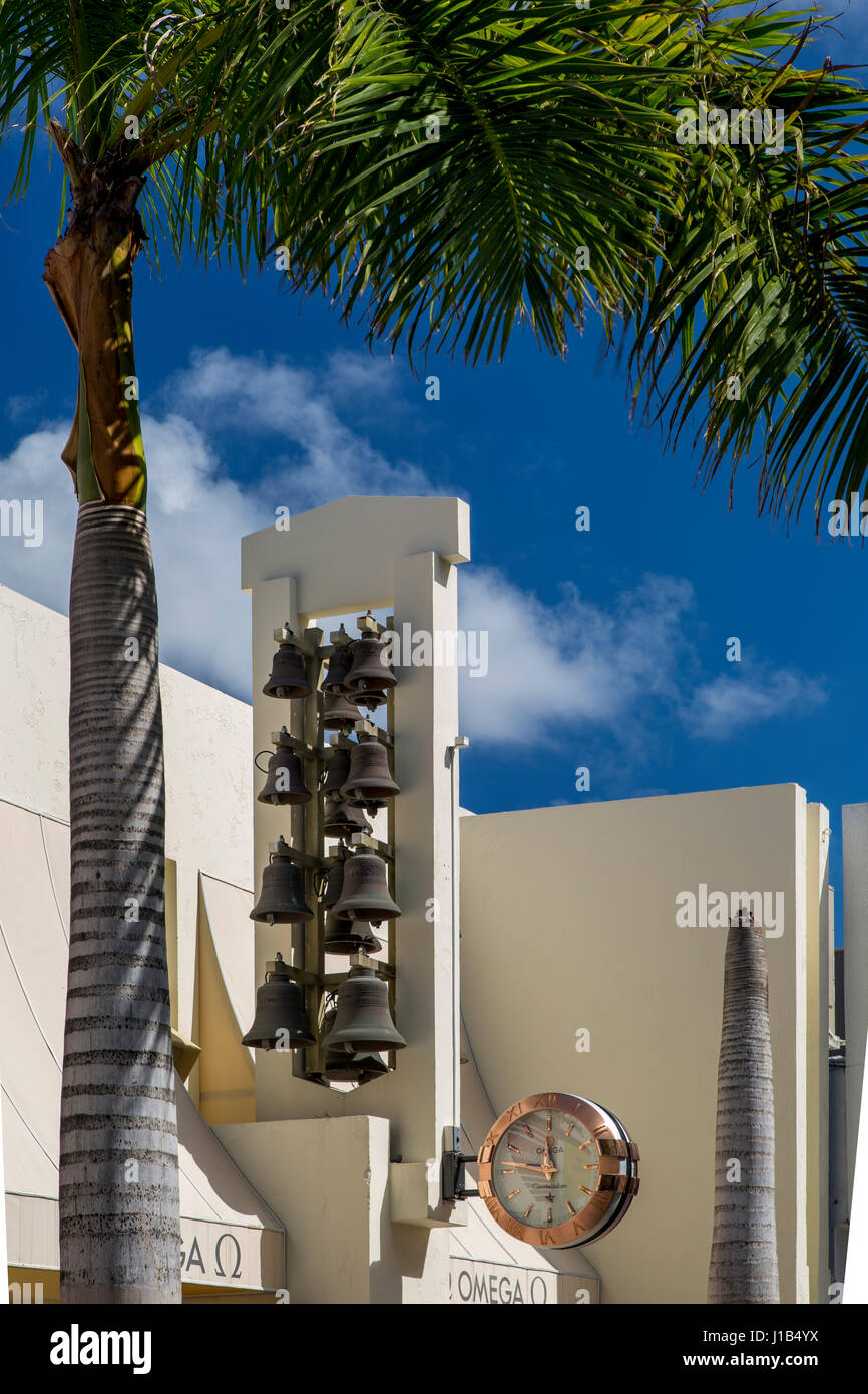 Bell Carillon keeping time on the outside of Omega Watch Company store, Philipsburg, Sint Maarten, Netherlands Antilles, - Stock Image