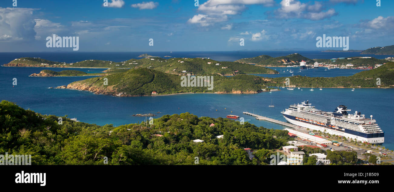View of Charlotte Amalie Harbor from Paradise Point, St Thomas, US Virgin Islands - Stock Image
