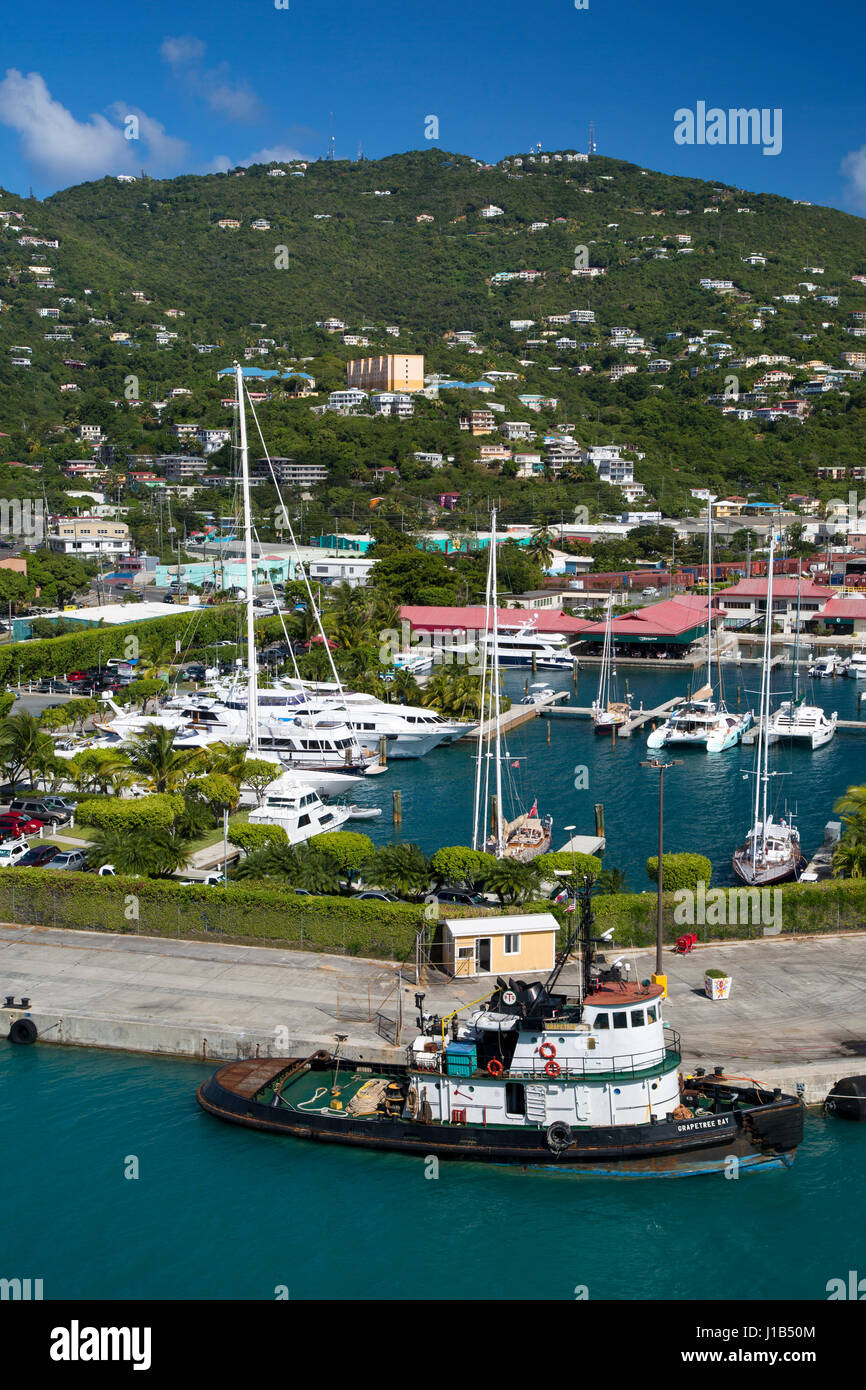 Tugboat and marina in Charlotte Amalie Harbor, St Thomas, US Virgin Islands Stock Photo