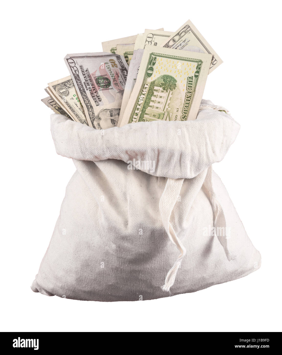 Sack of money - US dollar bills currency or US dollar bank notes in a money bag on a white background isolated - Stock Image
