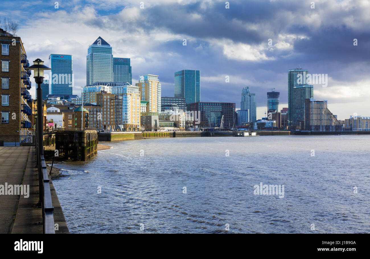 View of Canary Wharf, the financial district of the City of London, Docklands, England, UK - Stock Image