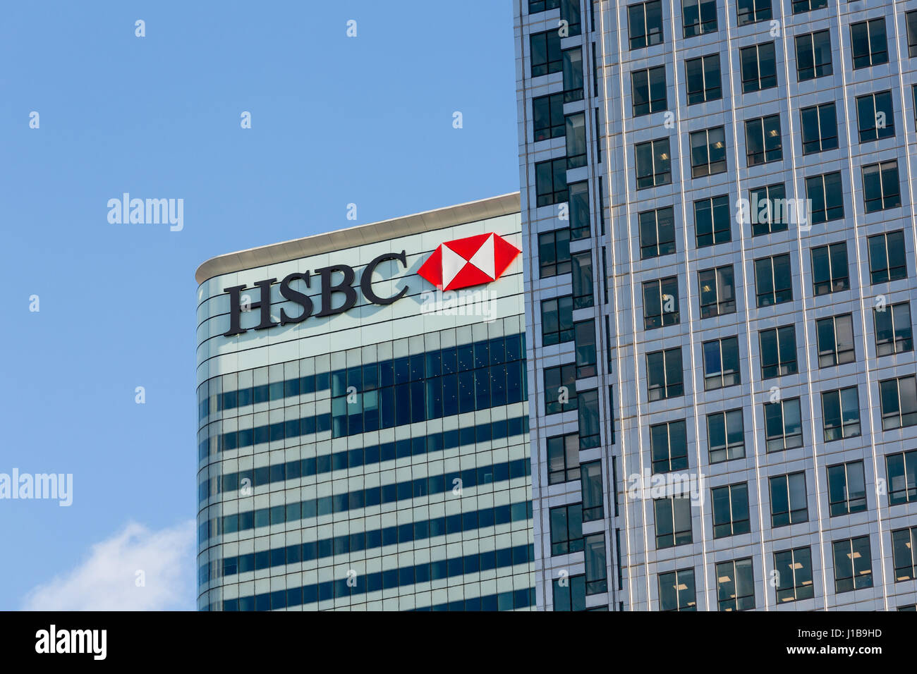 HSBC bank logo sign on the HSBC HQ office building in Canary