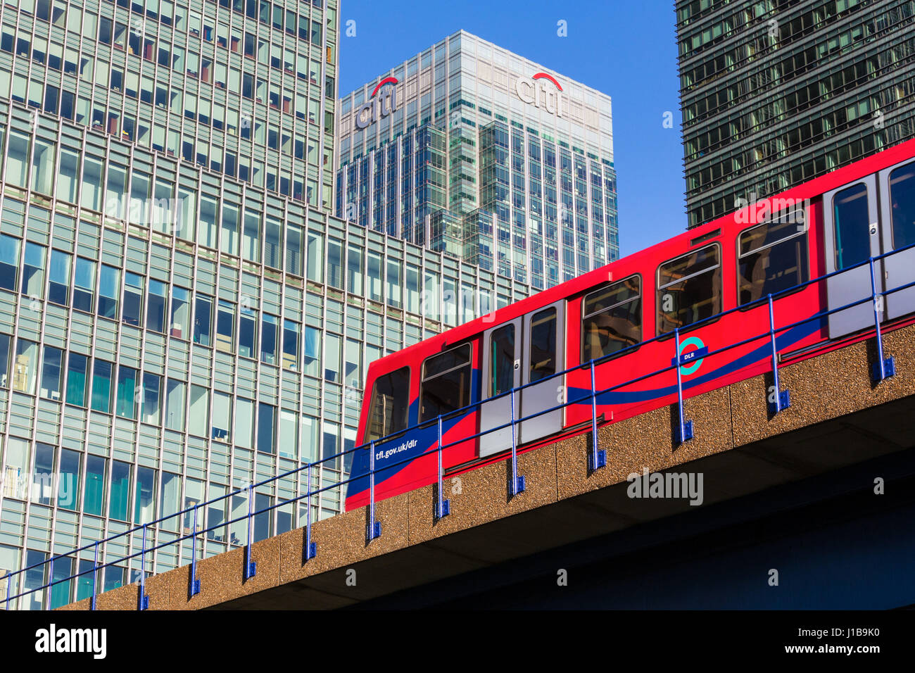 DLR Docklands Light Railway train in Canary Wharf, Docklands, London, England - Stock Image