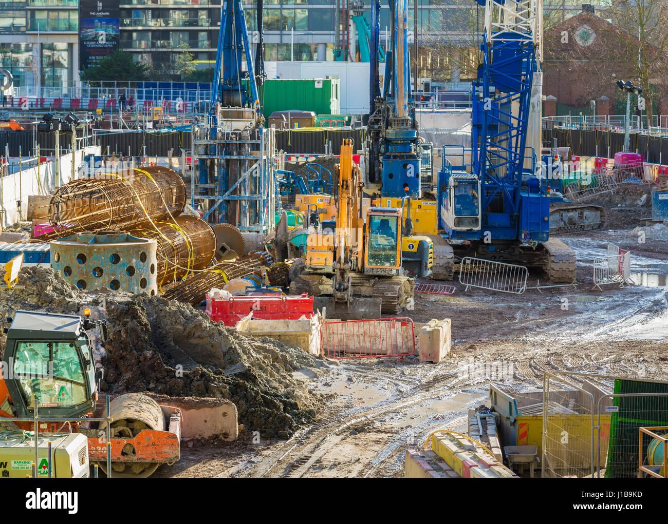 Building site - construction site - Docklands, London, England - Stock Image