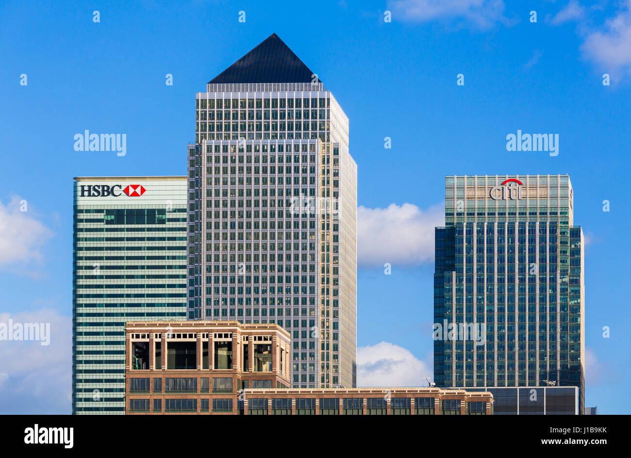 Canary Wharf skyline - Docklands, London, England - the financial district of the UK Stock Photo