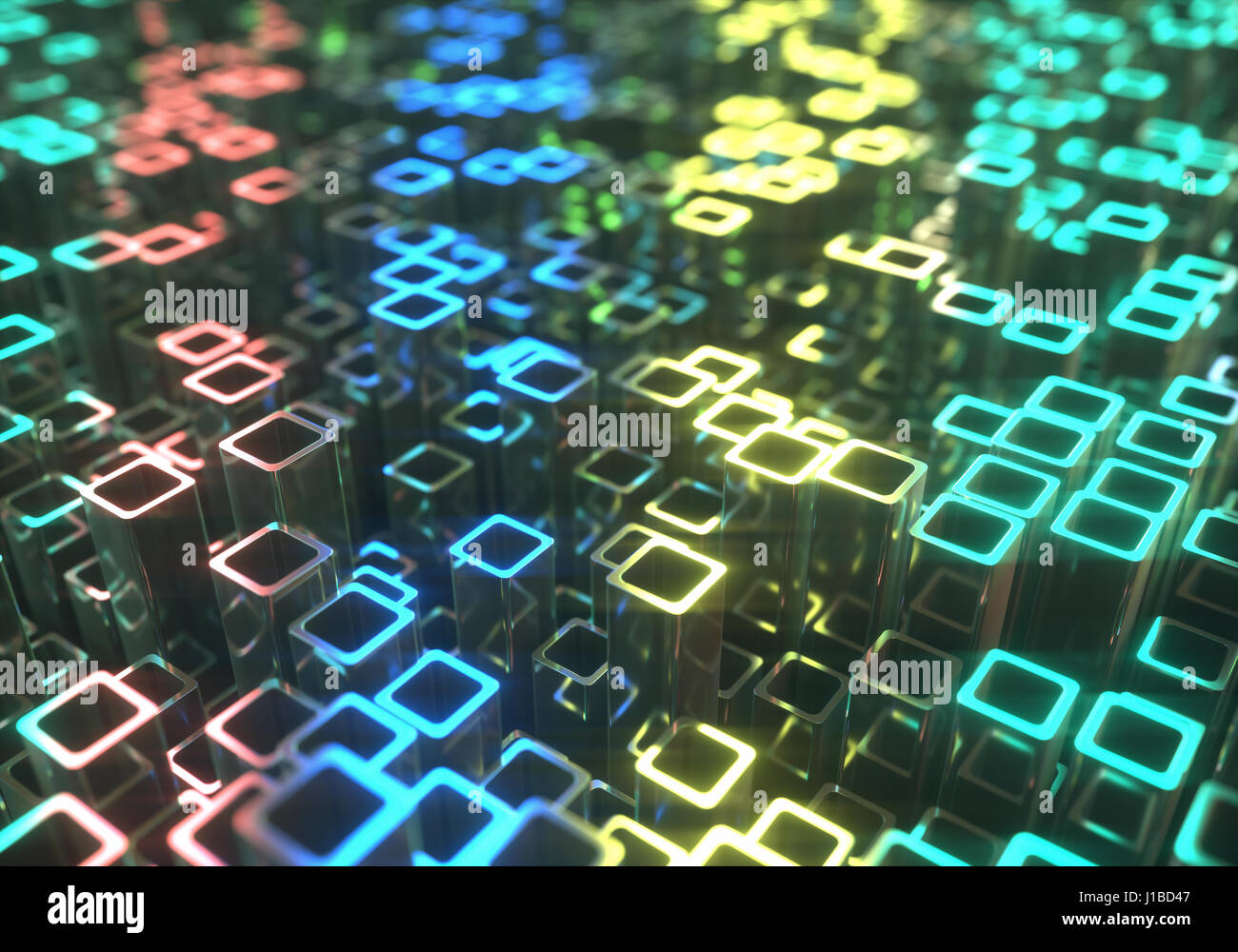 3D illustration. Abstract background made by metallic tubes reflecting colored lights. - Stock Image