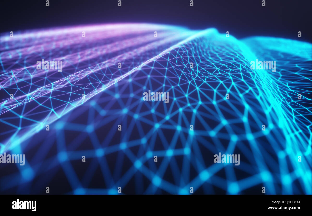 3D illustration, embossed mesh representing internet connections, cloud computing and neural network. - Stock Image