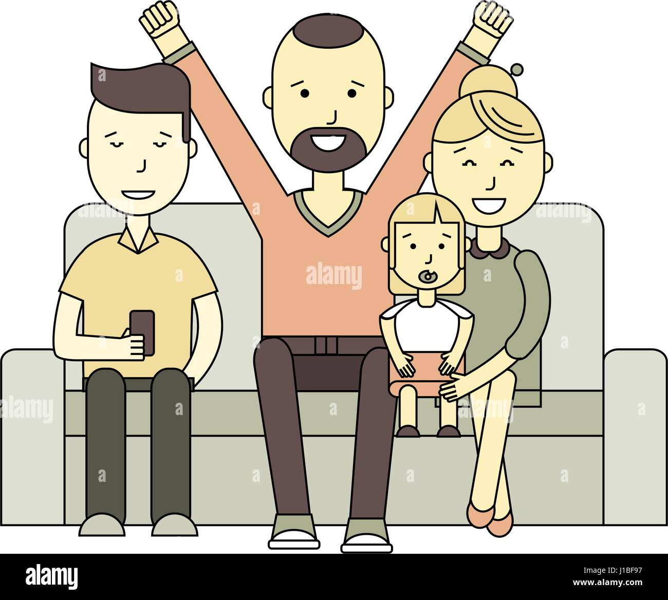family together on the sofa - Stock Vector