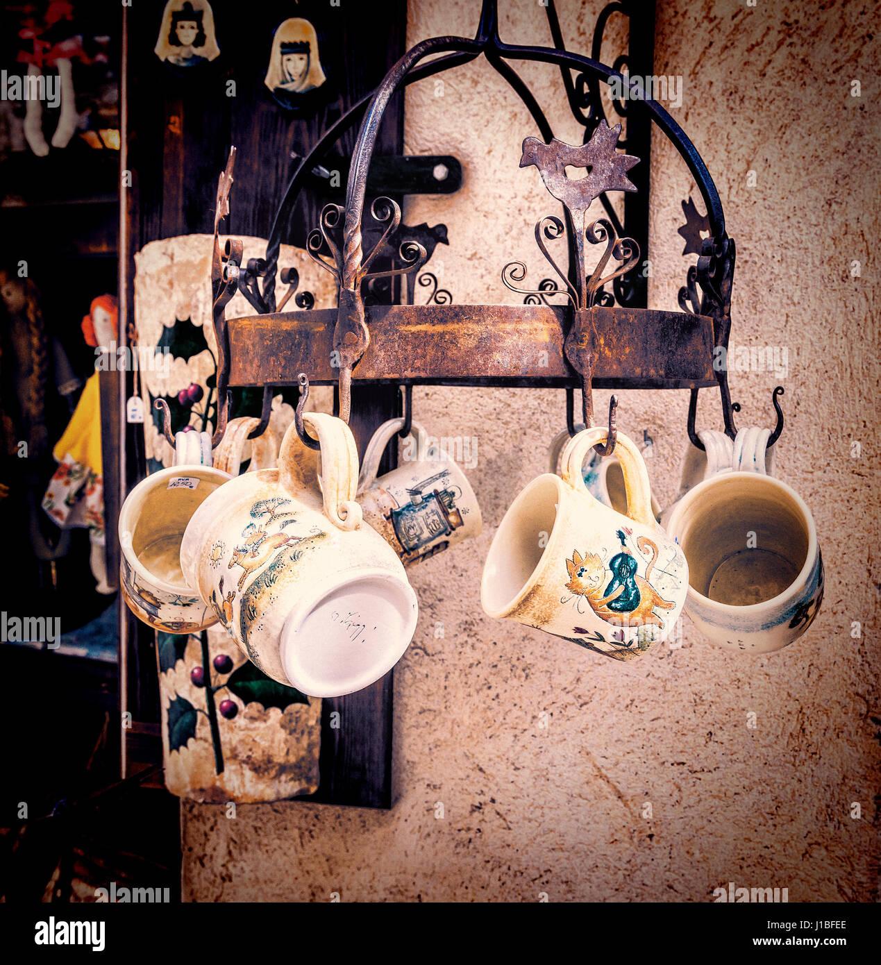 Handmade ceramic mugs at street market in Besalu, Spain - Stock Image