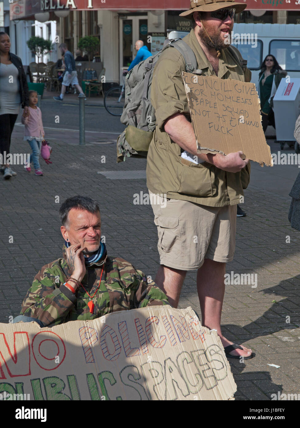 A protest in Brighton against the introduction of Public Space Protection Orders - Stock Image