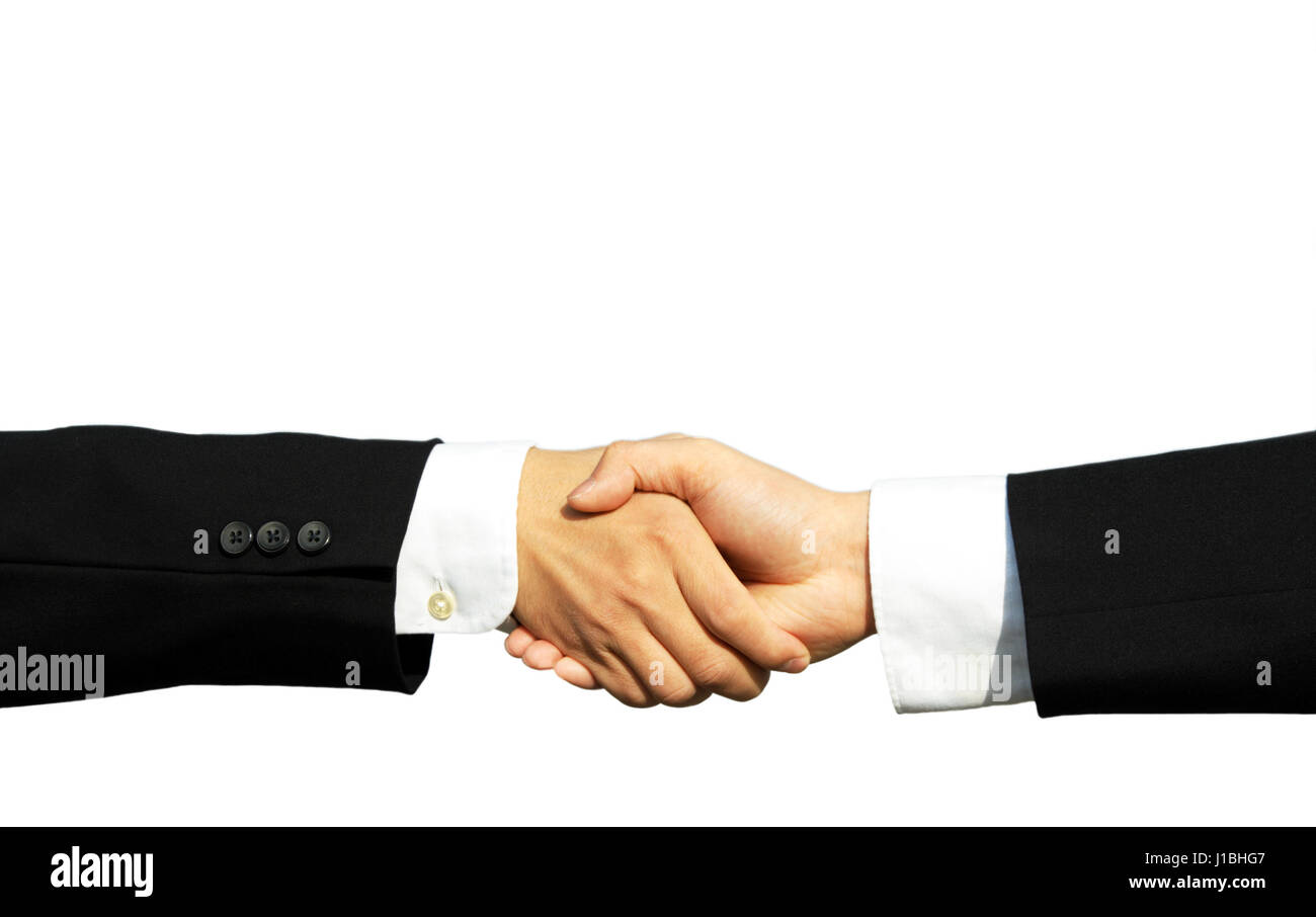 Two businessmen shaking hands in isolated white - Stock Image