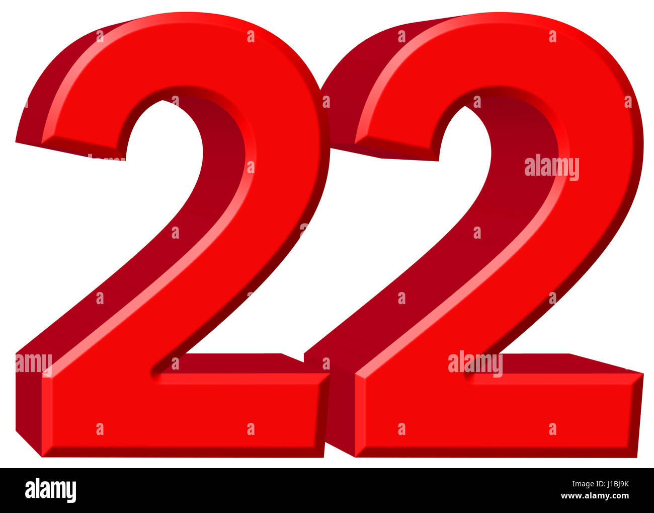 Numeral 22, twenty two, isolated on white background, 3d render - Stock  Image