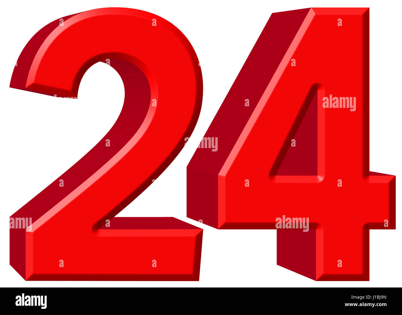 Numeral 24, twenty four, isolated on white background, 3d ...