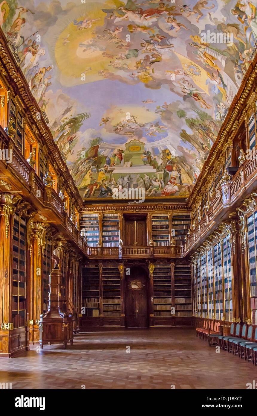 The Strahov Monastery it is  an active place of pilgrimage,  a valuable museum and a famous library, holding an - Stock Image