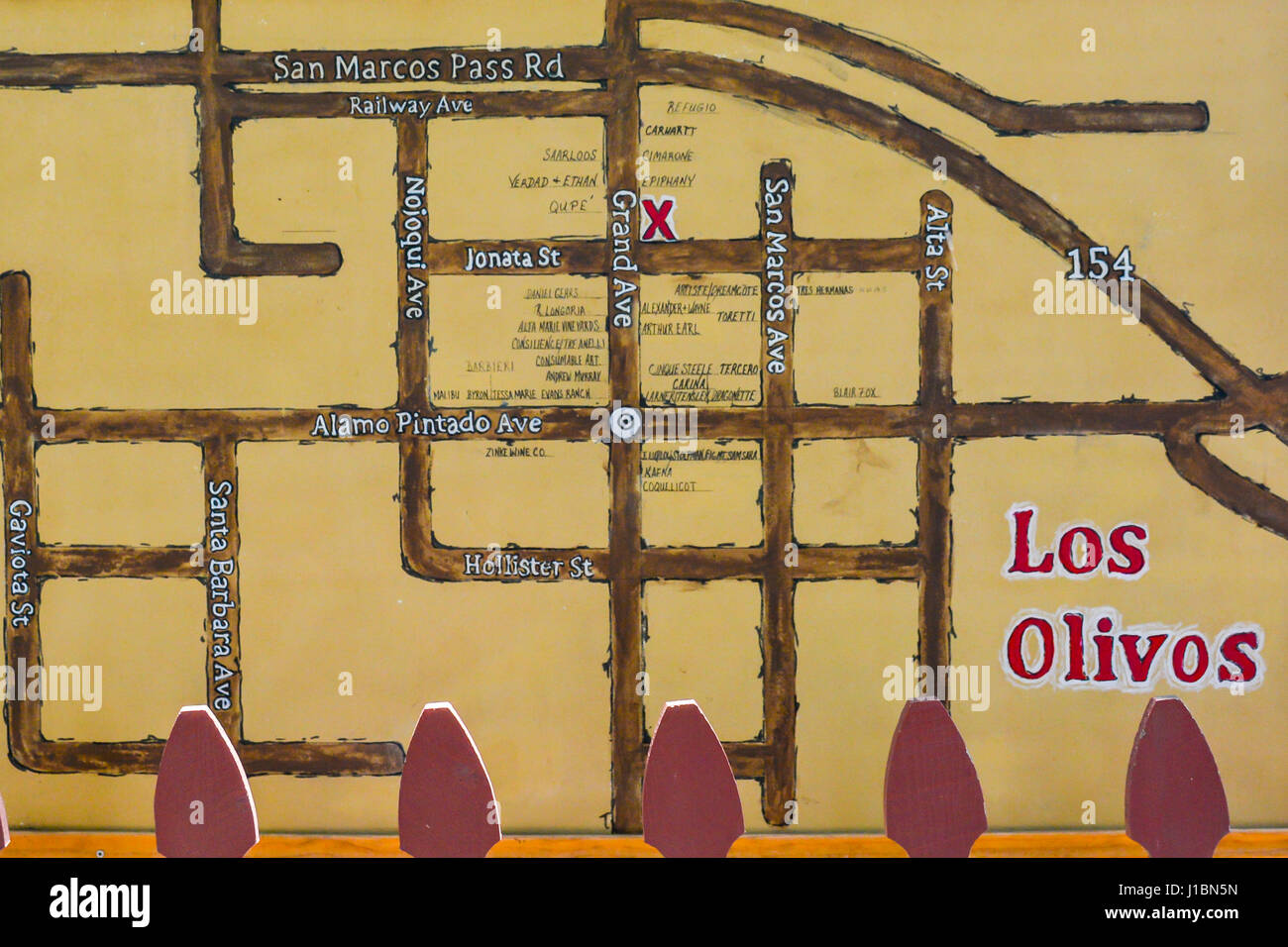 A rustic style downtown map of the street of the many Wine tasting on