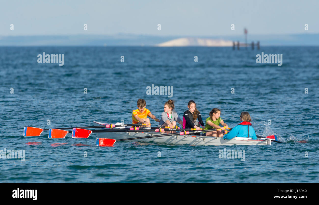 4 young women rowing crew in a Coxed Quad (4X+) scull rowing boat with a cox, rowing on the sea. - Stock Image