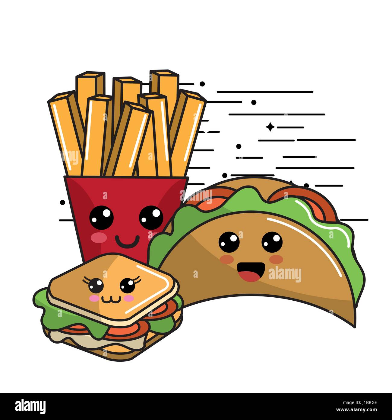 Kawaii Fast Food Icon Adorable Expression Stock Vector Art