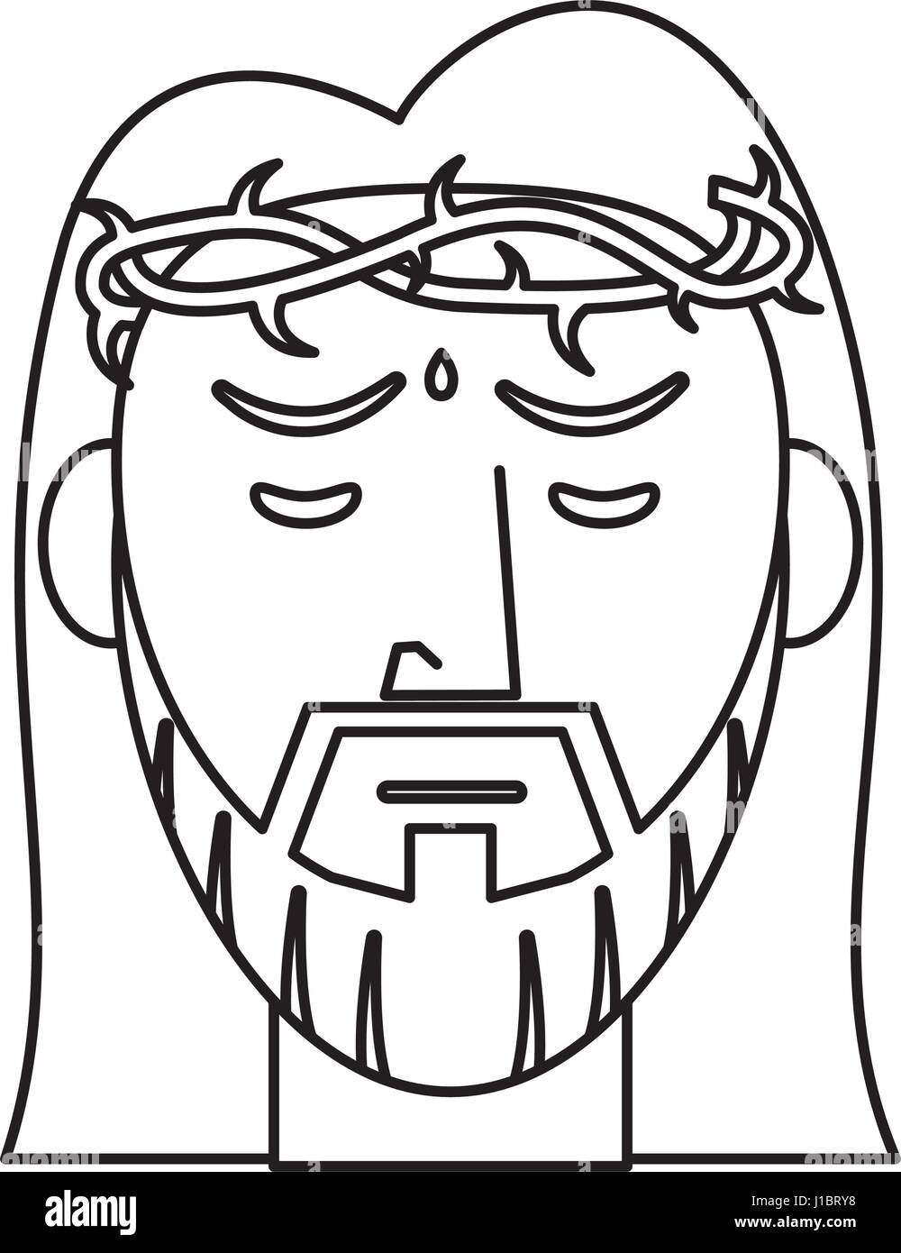 Jesus Christ Crown Of Thorns Outline