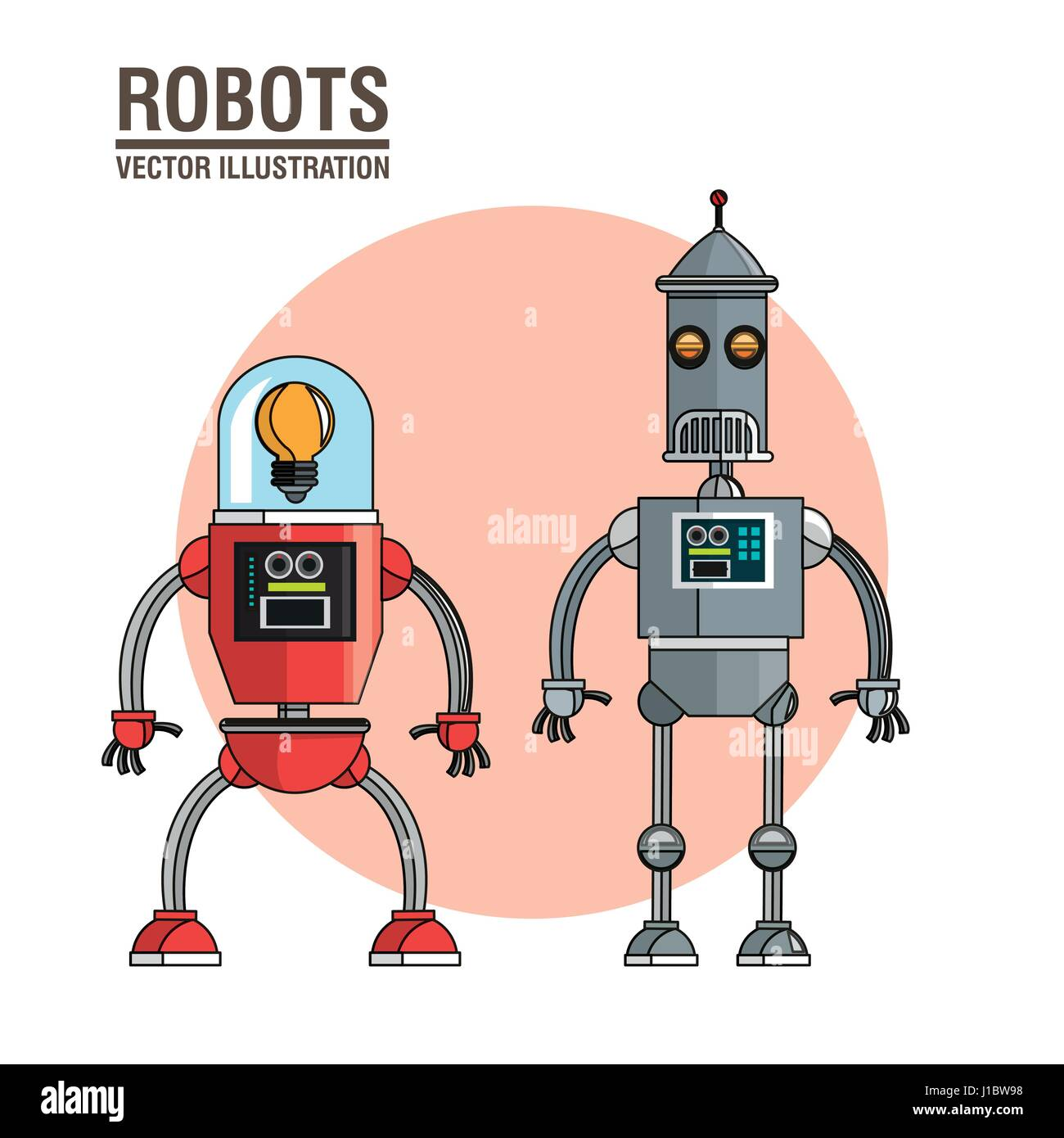 robots technology mechanical vintage Stock Vector