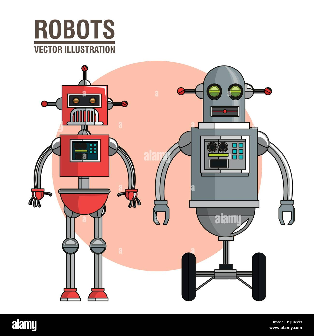 robots science interface image Stock Vector