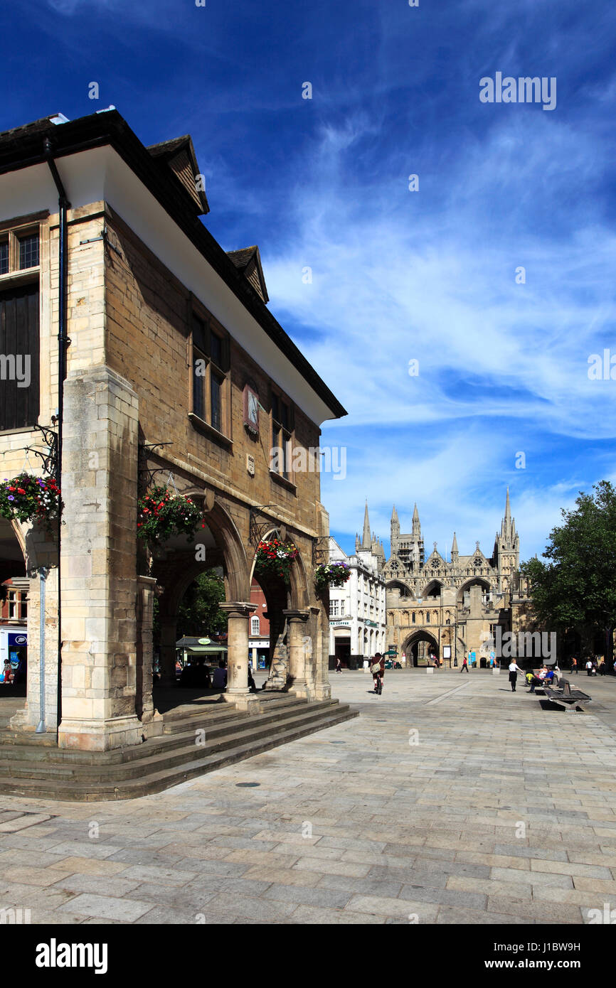 The 17th century Guildhall in Cathedral square, Peterborough City; Cambridgeshire; England - Stock Image