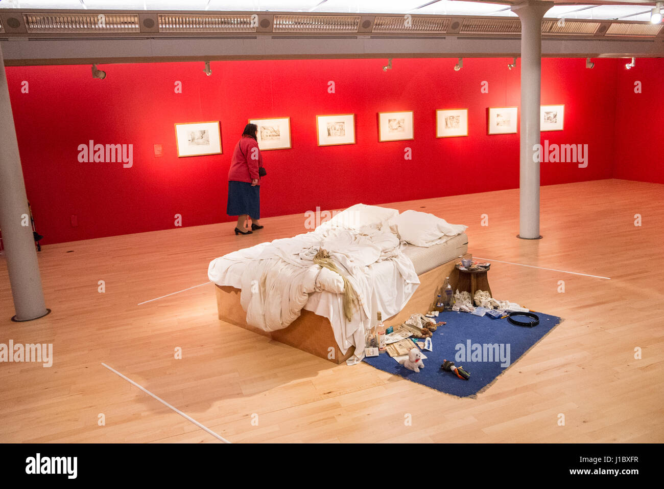Tracey Emin,bed,My Bed,Tate,Modern,Art,Gallery,Albert,Dock,Liverpool,Merseyside,England,City,City,Northern,North,England,English,UK.,U.K.,Britain,GB, Stock Photo