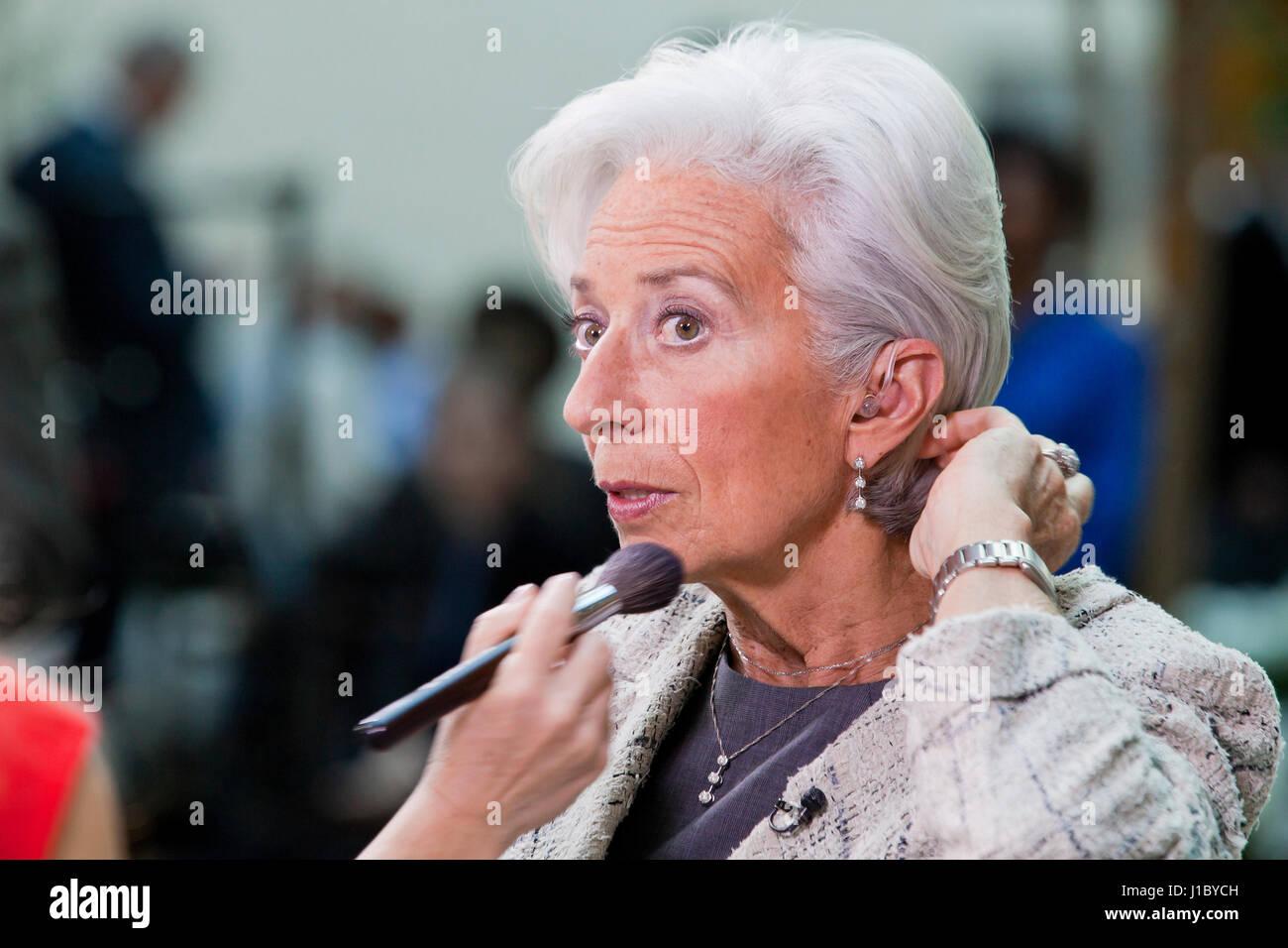 Christine Lagarde, Director if the International Monetary Fund (IMF), preparing for TV interview - USA - Stock Image