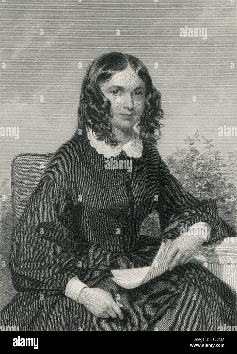 Elizabeth Barrett Browning (1806-61),Prominent English Poet,Portrait,Engraving from original Painting by Chappel,1872 - Stock Image