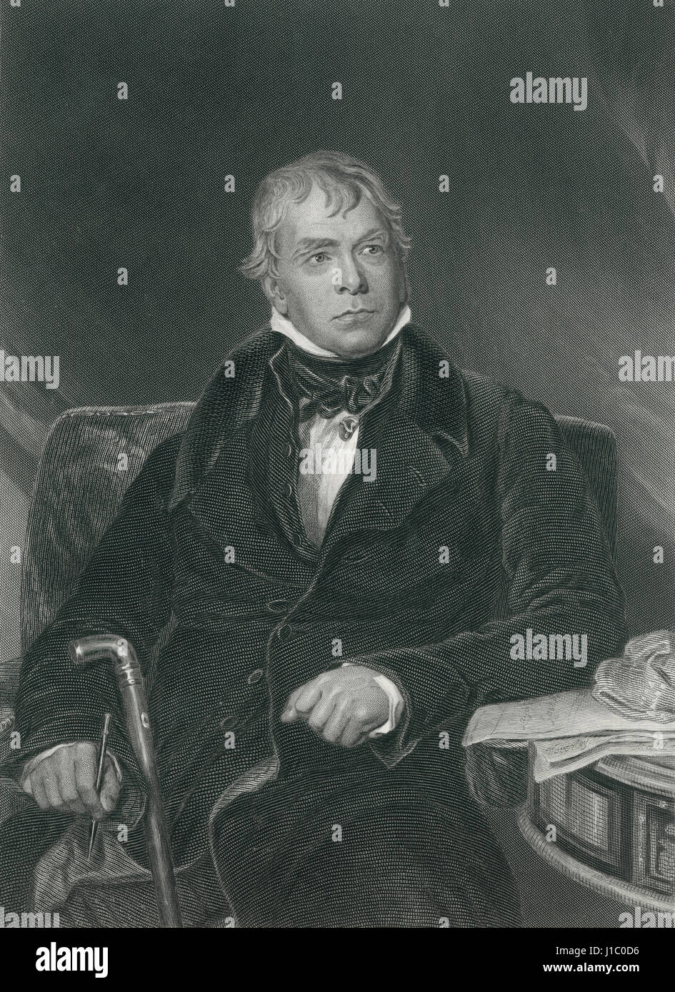 Sir Walter Scott (1771-1832), Scottish Historical Novelist, Playwright and Poet, Portrait, Engraving from Original - Stock Image