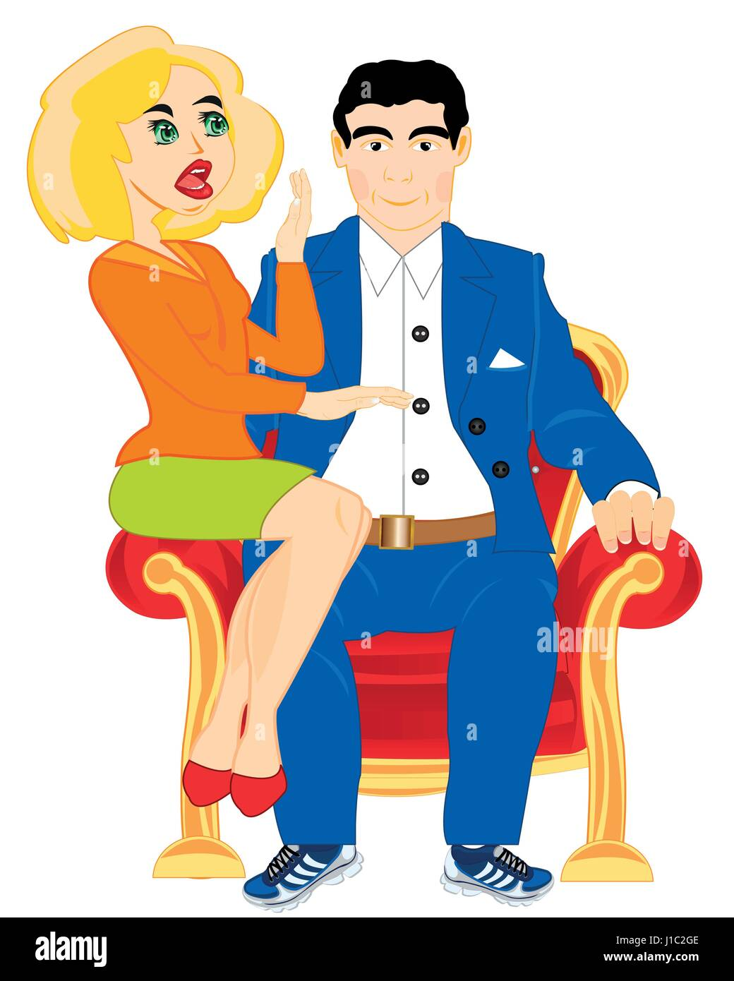 Girl and man on easy chair - Stock Vector