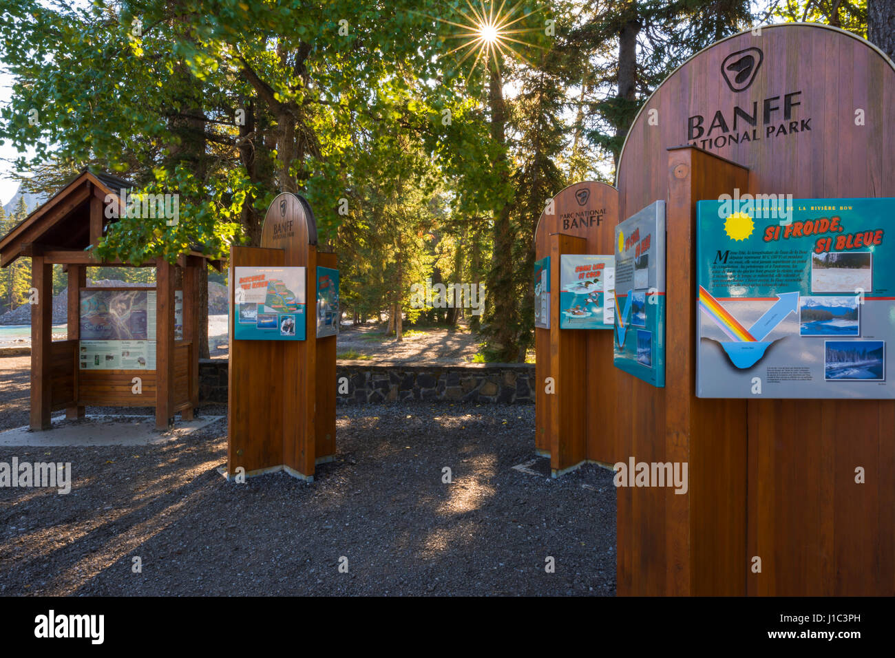 Interpretive signs at Bow Falls, Banff National Park, Alberta, Canada - Stock Image