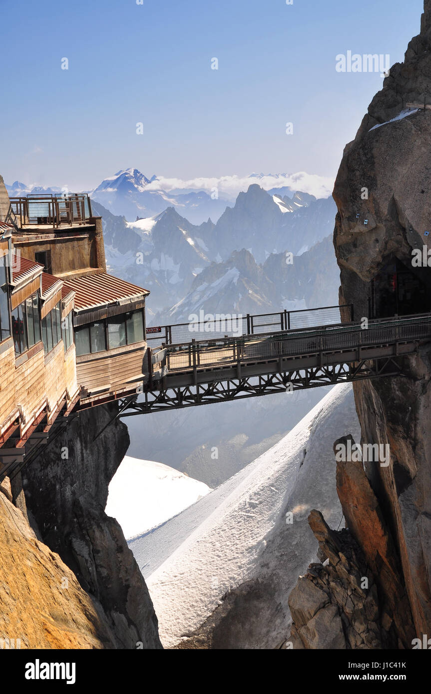The Aiguille du Midi (3,842 m) is a mountain in the Mont Blanc massif in the French Alps - Stock Image