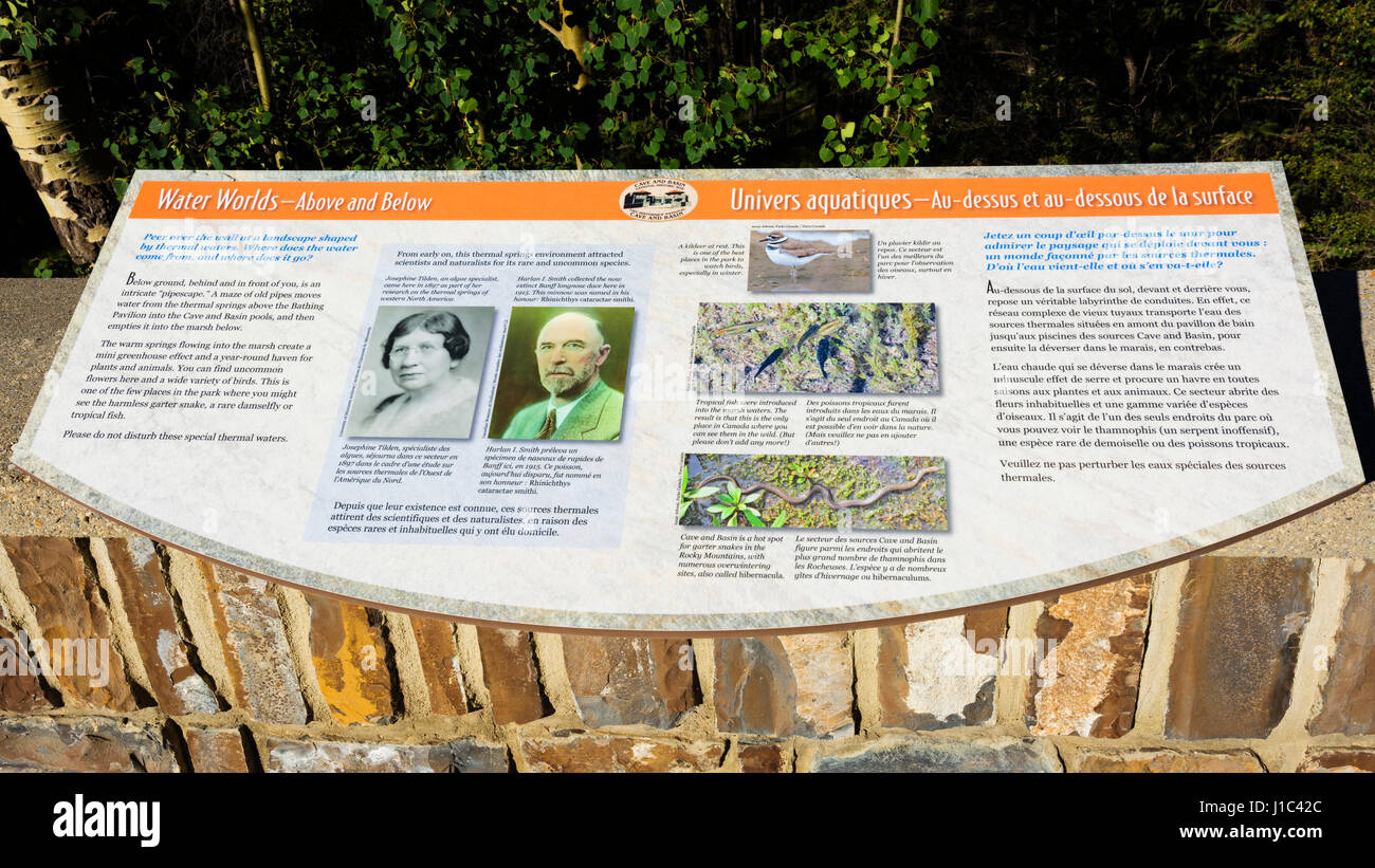 Interpretive display, Cave and Basin National Historic Site, Banff National Park, Alberta, Canada - Stock Image