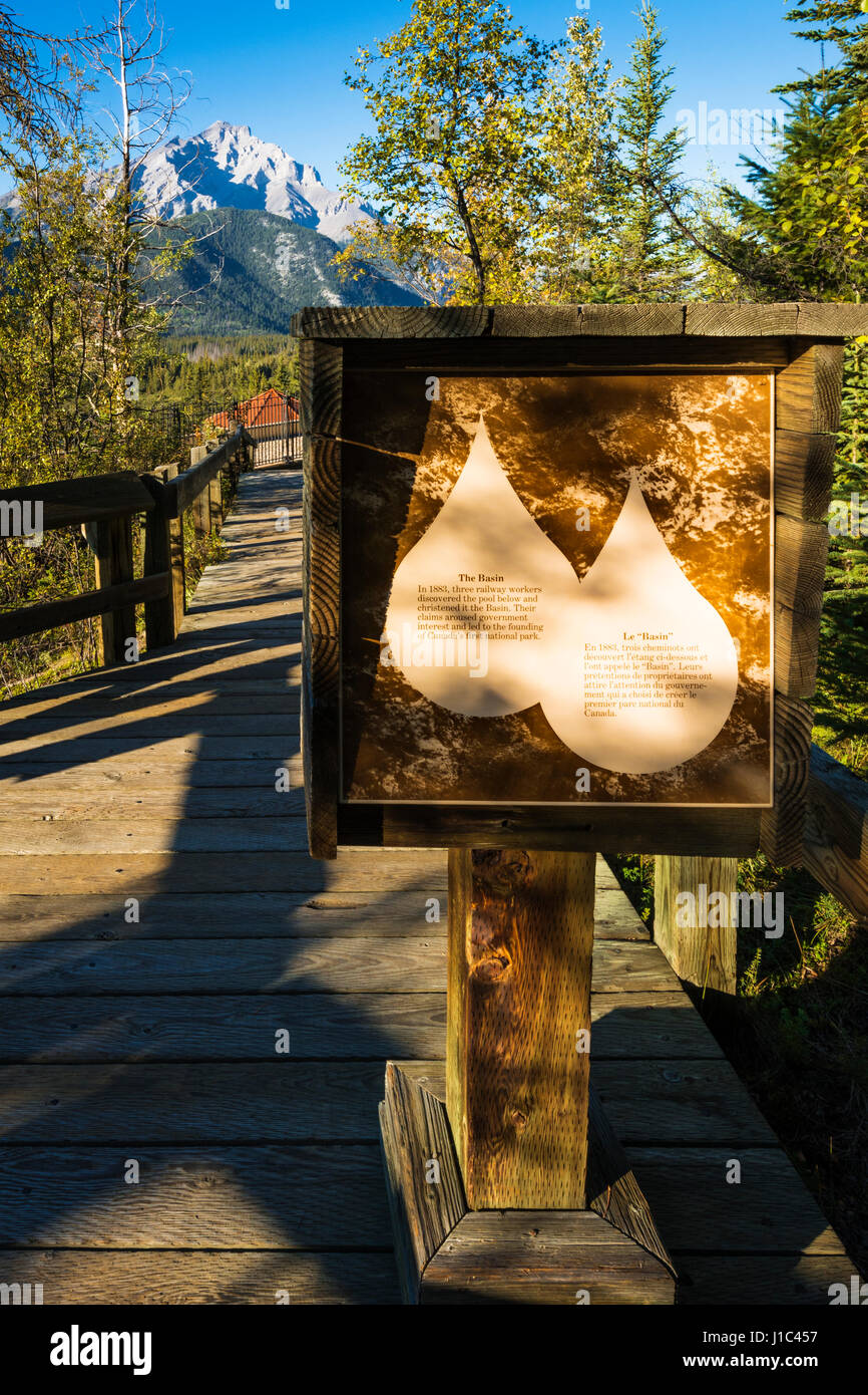 Interpretive sign, Cave and Basin National Historic Site, Banff National Park, Alberta, Canada - Stock Image