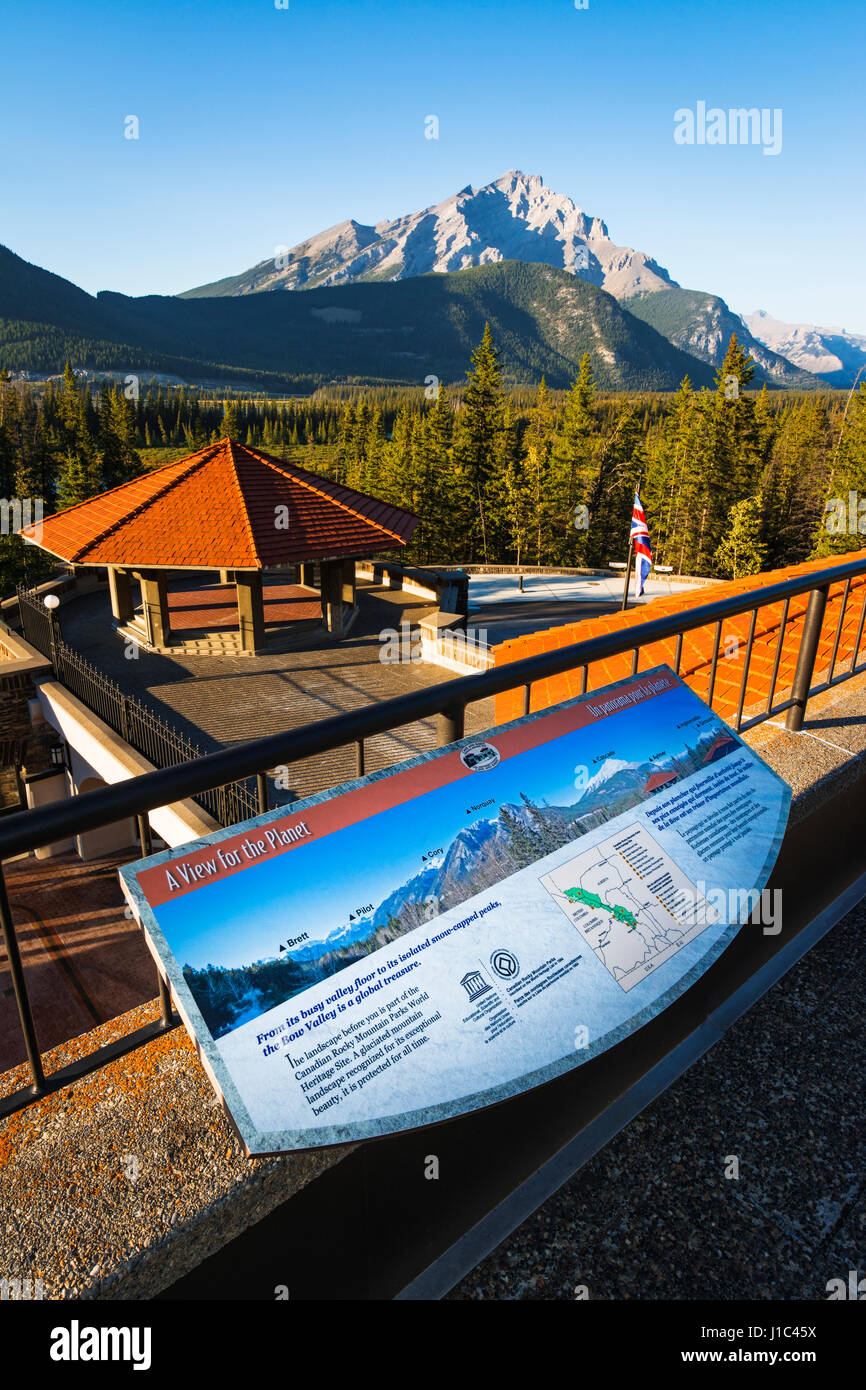 Interpretive display overlooking the Bow Valley, Cave and Basin National Historic Site, Banff National Park, Alberta, - Stock Image