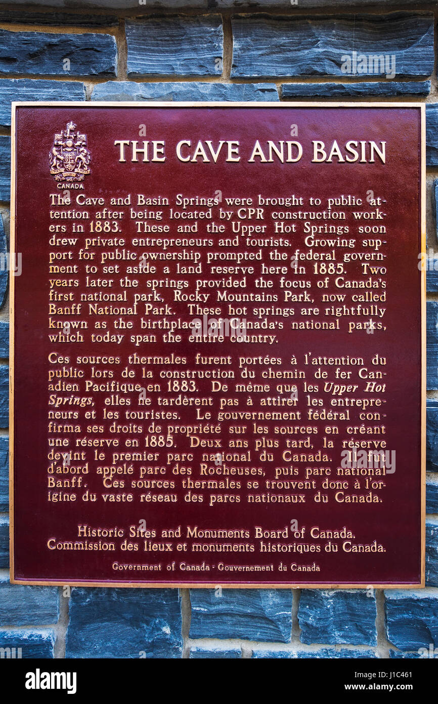 Historic interpretive plaque at Cave and Basin National Historic Site, Banff National Park, Alberta, Canada - Stock Image
