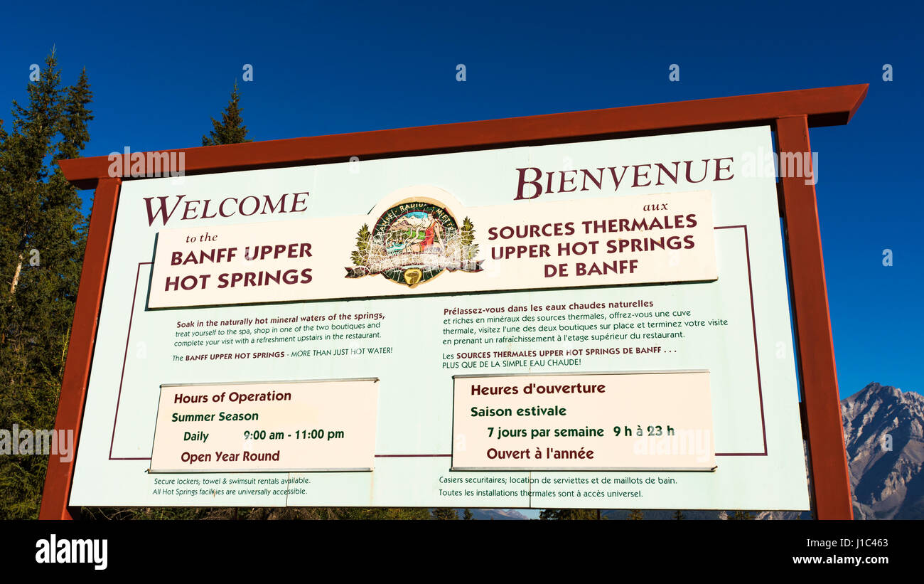 Entrance sign at Sulpher Mountain Hot Springs, Banff National Park, Alberta, Canada - Stock Image
