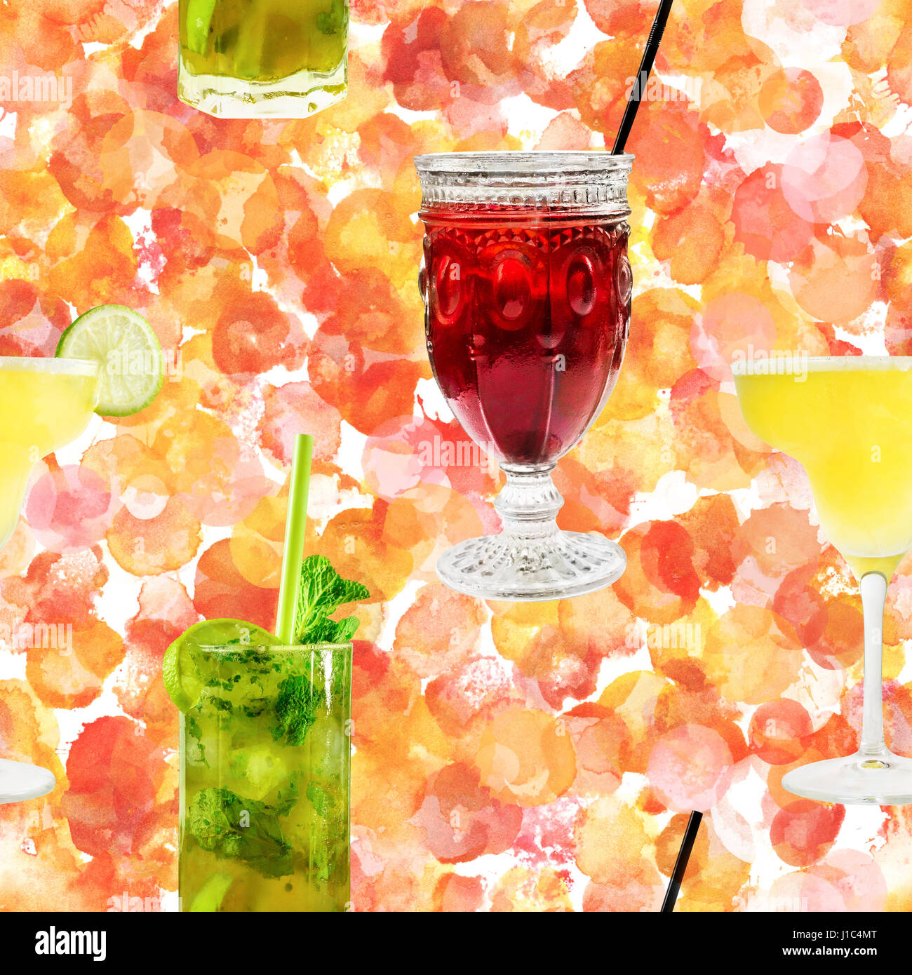 Seamless pattern of cocktail photos on abstract watercolor textu - Stock Image