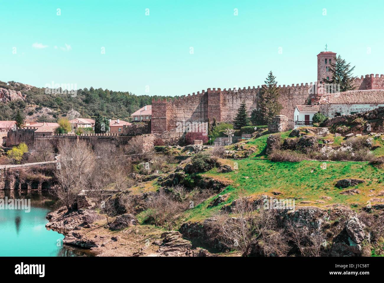 View over small historic town Buitrago de Lozoya in Spain Stock Photo