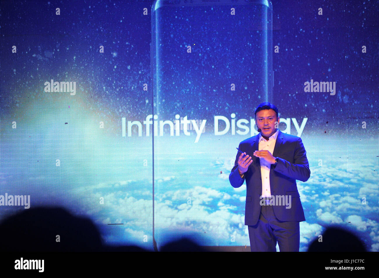 Pranaya Ratna Sthapit, Head - HHP, Samsung Nepal giving speech during officially unrevealing of Samsung S8 and S8 - Stock Image