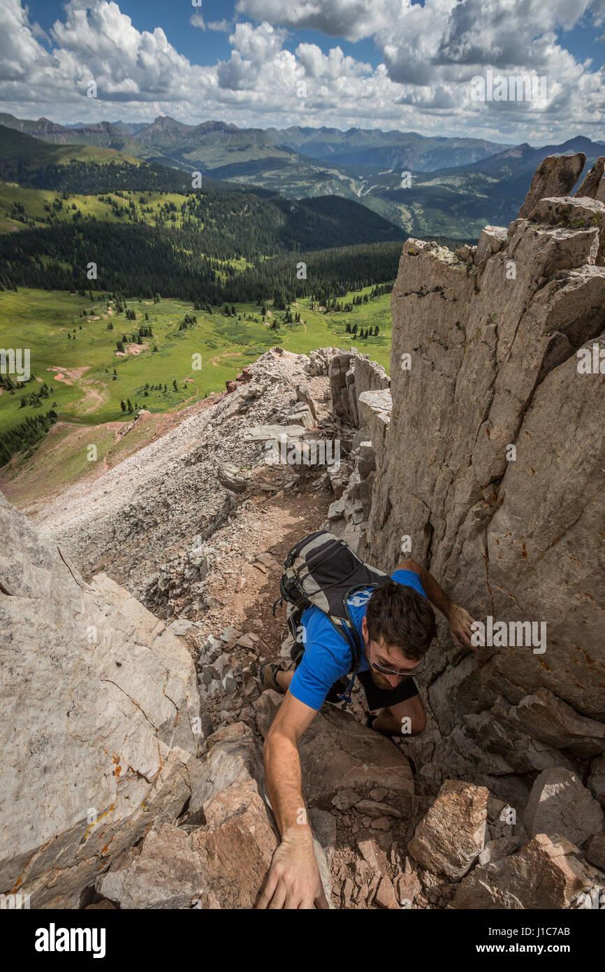 Karl Joseph climbing Engineer Mountain, Colorado. - Stock Image