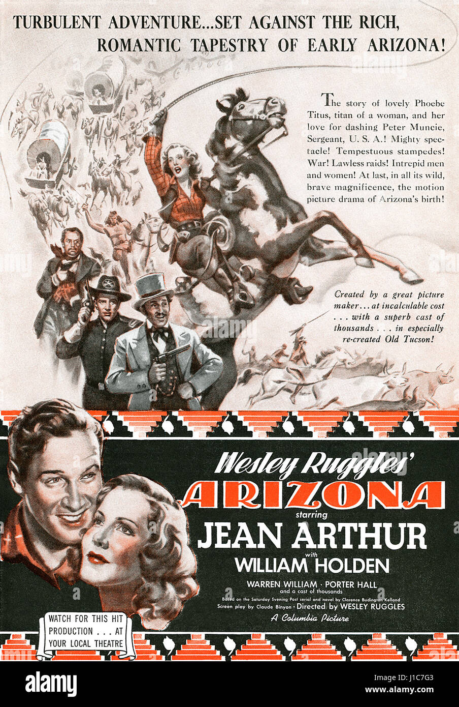 1940 U.S. advertisement for the film Arizona starring Jean Arthur and William Holden. - Stock Image