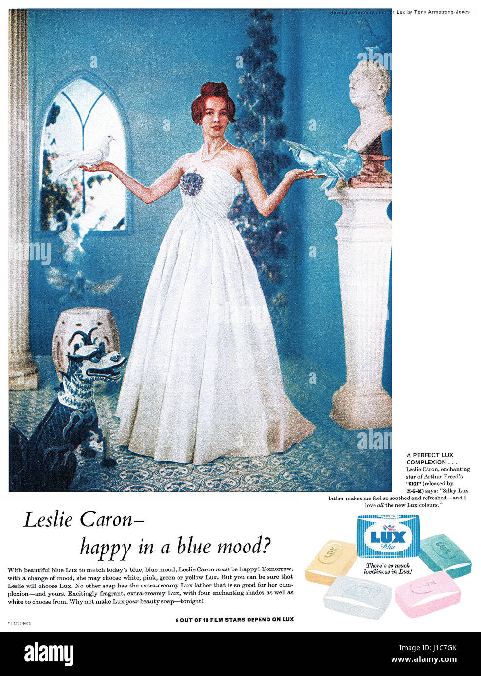 1959 British advertisement for Lux Soap, featuring film star Leslie Caron. - Stock Image